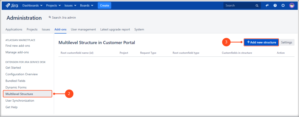 Creating a Multilevel Structure with Extension for Jira Service Management by adding a new structure