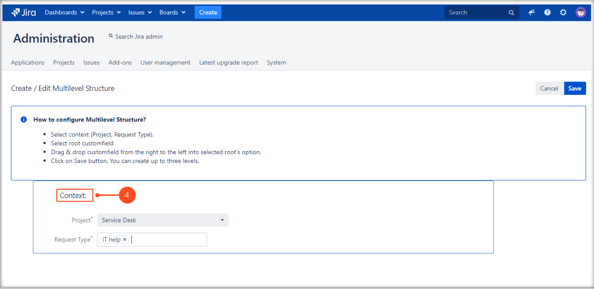 Creating a Multilevel Structure with Extension for Jira Service Management by selecting the project and request type