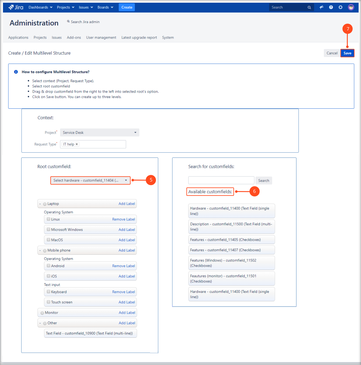 Creating a Multilevel Structure with Extension for Jira Service Management by selecting the root custom field and other available custom fields