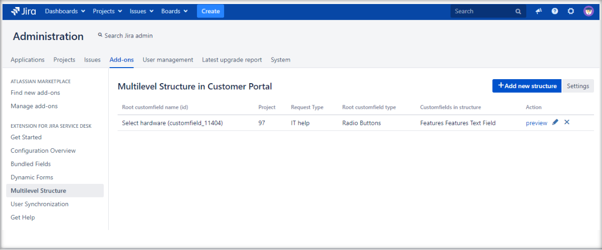 Creating a Multilevel Structure with Extension for Jira Service Management by adding a configuration to the list