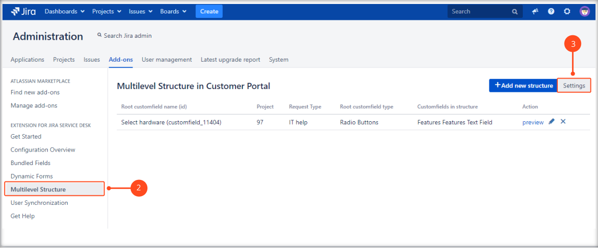 Creating a Multilevel Structure with Extension for Jira Service Management by setting a configuration