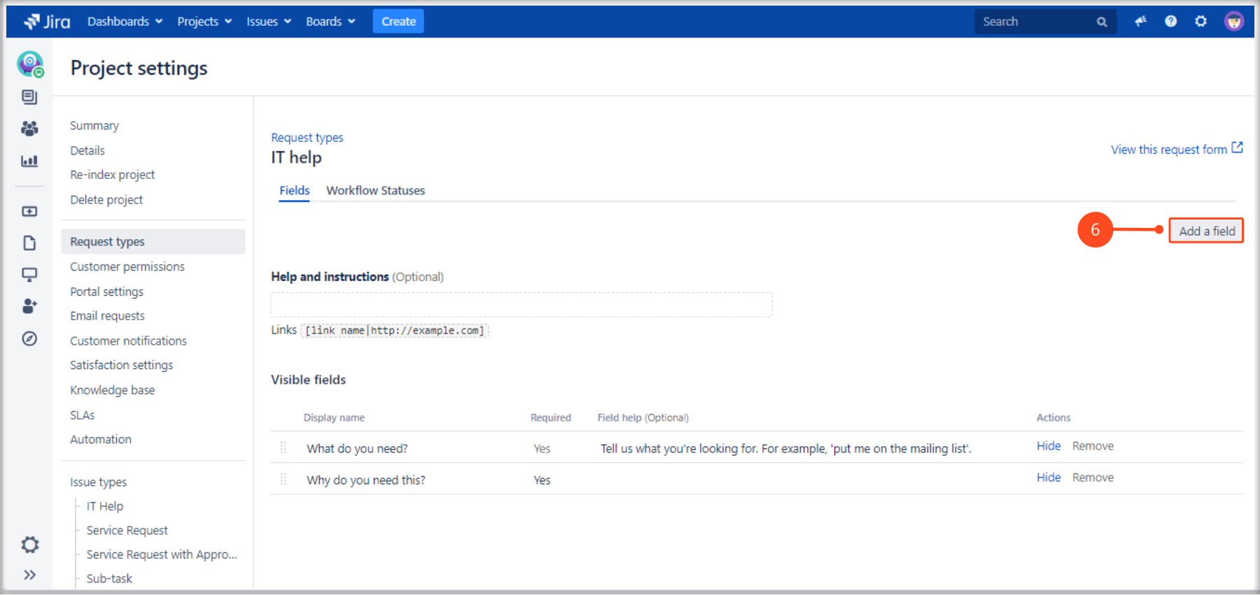 Using a Multilevel Structure with Extension for Jira Service Management by adding fields to the request type