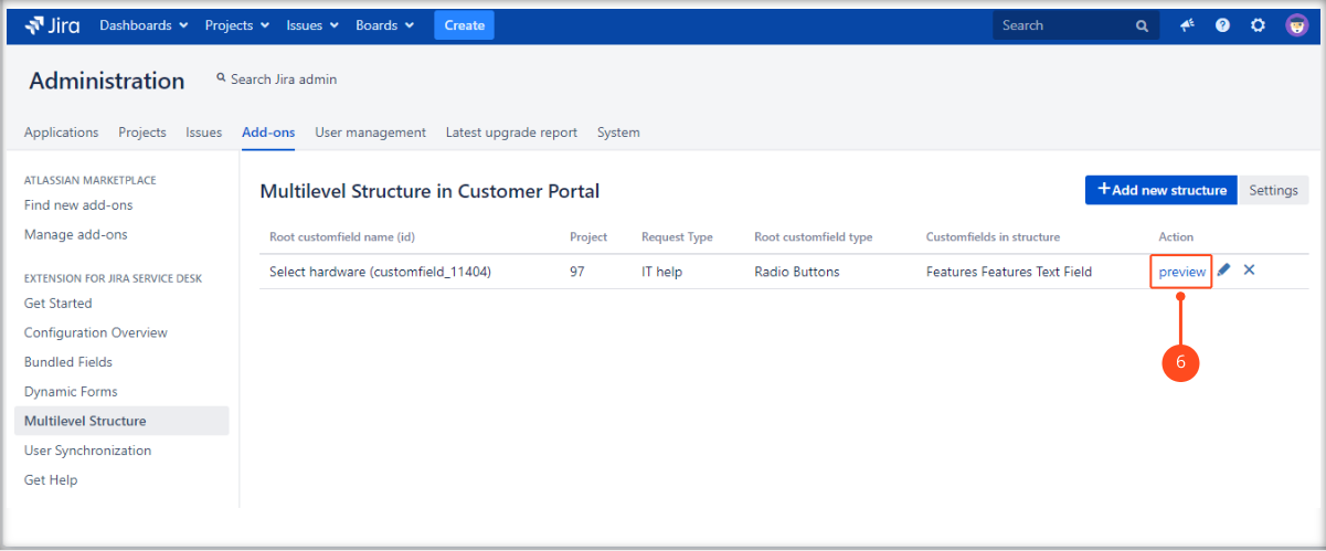 Creating a Multilevel Structure with Extension for Jira Service Management
