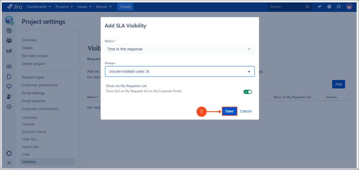 Setting SLAs visibility with Extension for Jira Service Management in the request details view on the Customer Portal by adding the SLA metric and groups