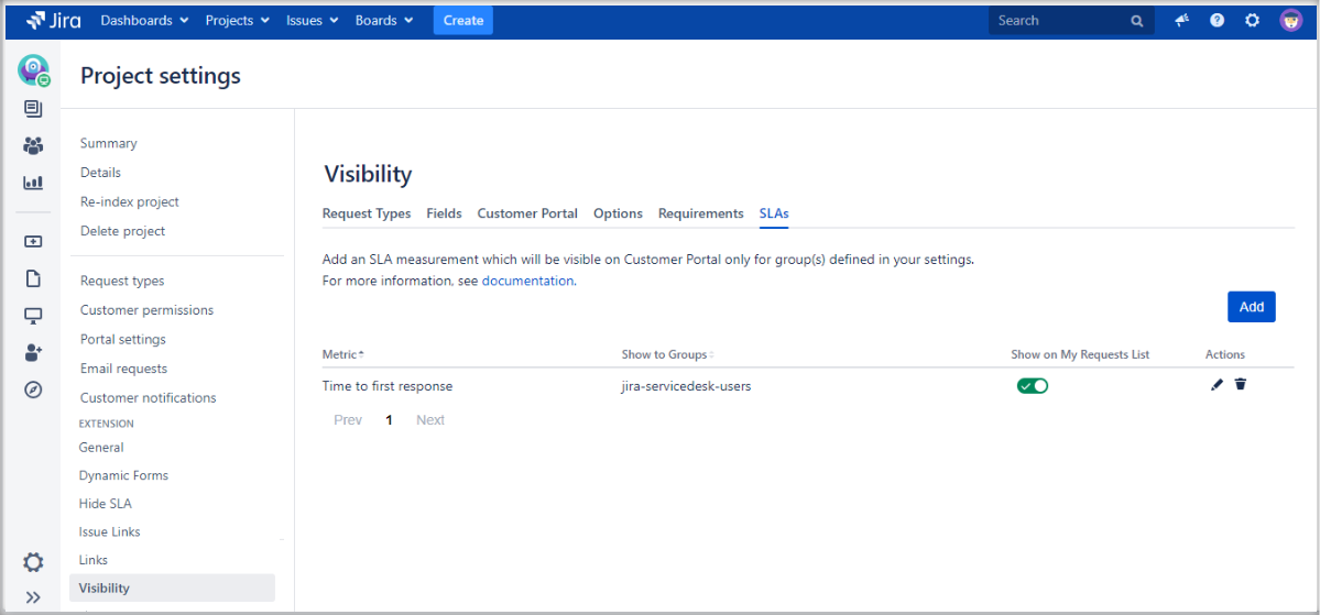 Setting SLAs visibility with Extension for Jira Service Management in the request details view on the Customer Portal by adding a configuration to the list