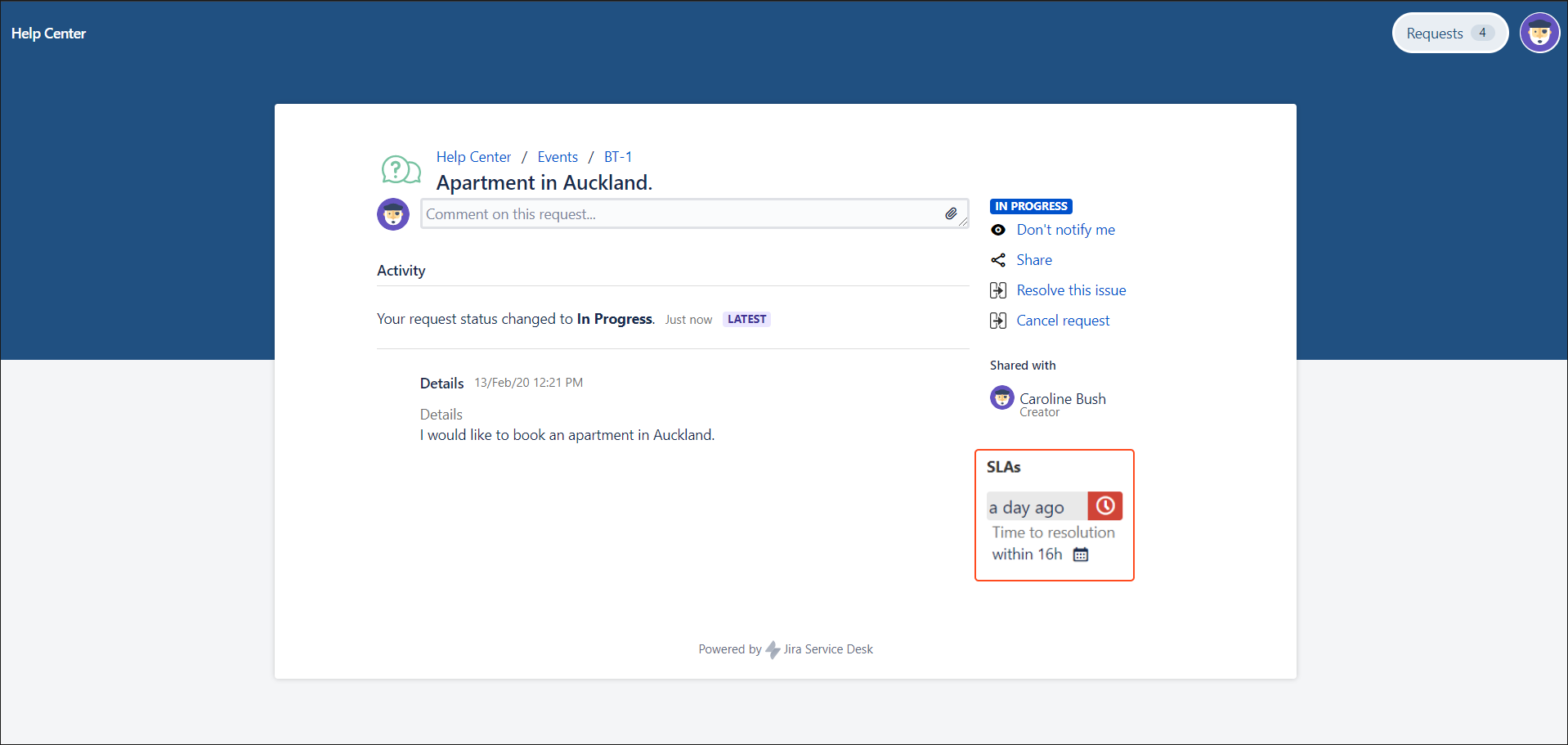 Now you can create Jira Service Management requests with SLAs visibility configuration in the request detail view on the Customer Portal