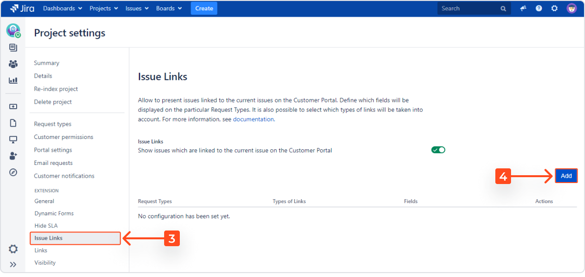 Setting Issue Links with Extension for Jira Service Desk in the request detail view on the Customer Portal