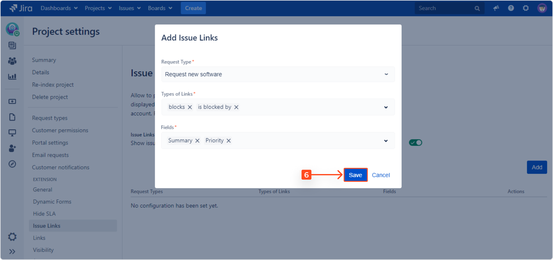 Setting Issue Links with Extension for Jira Service Desk in the request detail view on the Customer Portal by adding a request type, types of links and fields