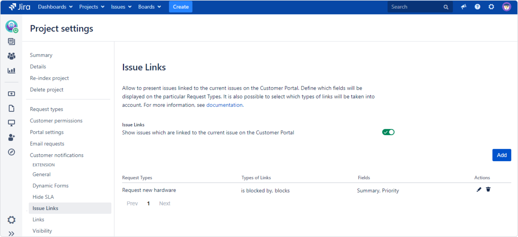Setting Issue Links with Extension for Jira Service Desk in the request detail view on the Customer Portal by adding a configuration to the list