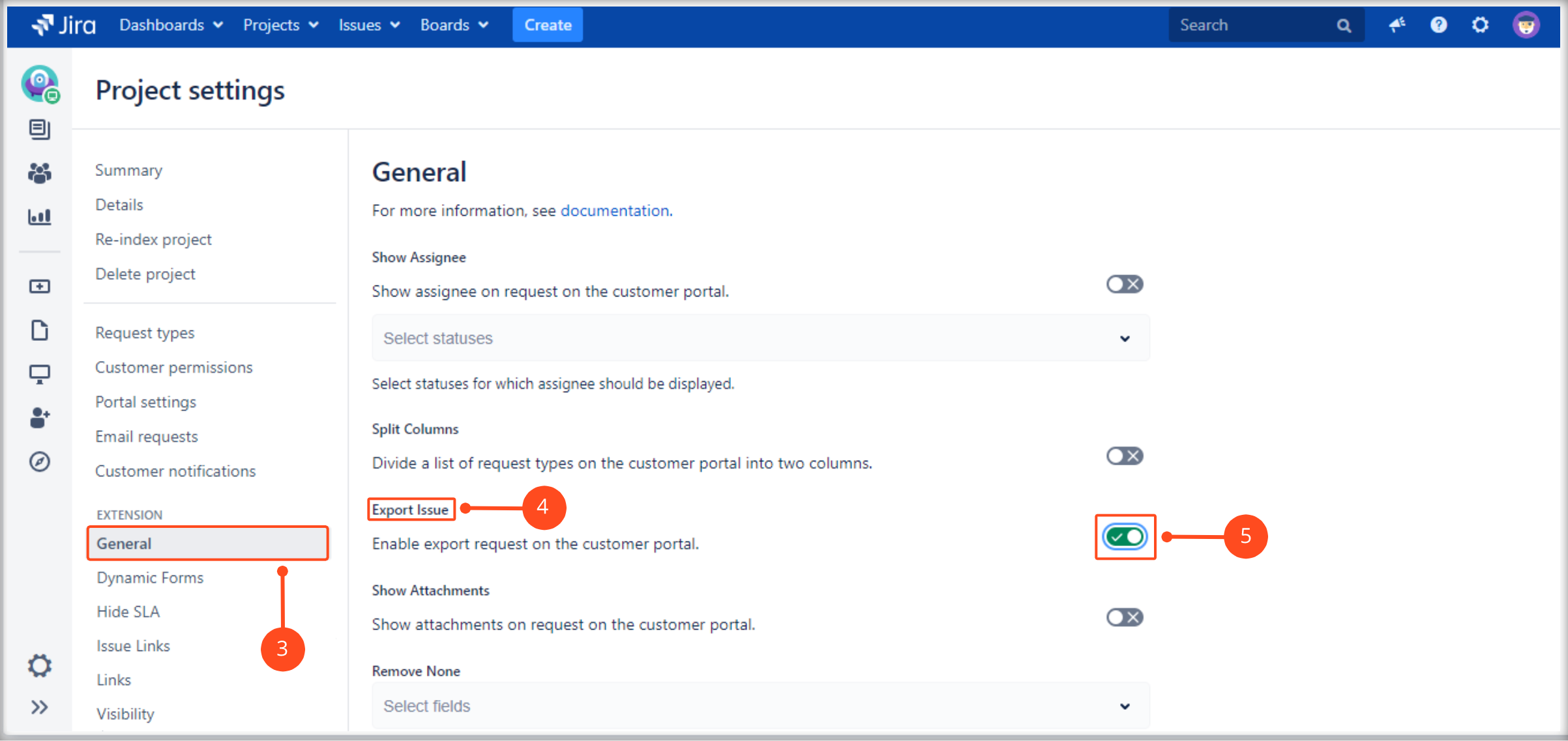 Setting Export Issue in the request details view on the Customer Portal with Extension for Jira Service Management