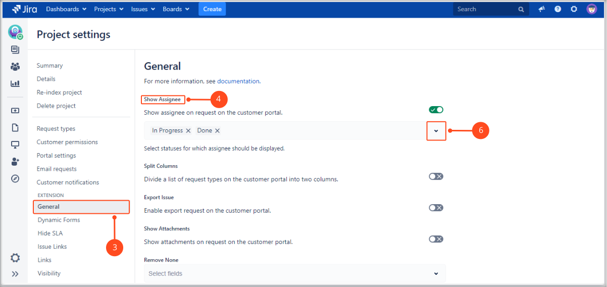 Setting Show Assignee in the request details view on the Customer Portal with Extension for Jira Service Management by adding specific statuses