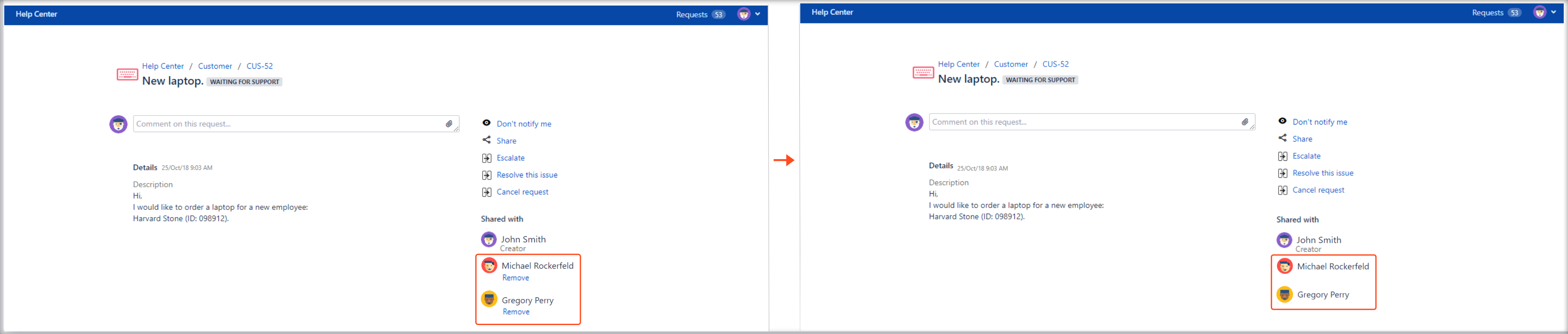 Now you can create Jira Service Management requests with Hide Remove Participants configuration in the request details view on the Customer Portal