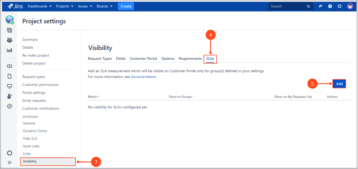 Setting SLAs visibility with Extension for Jira Service Management on My Requests List on the Customer Portal