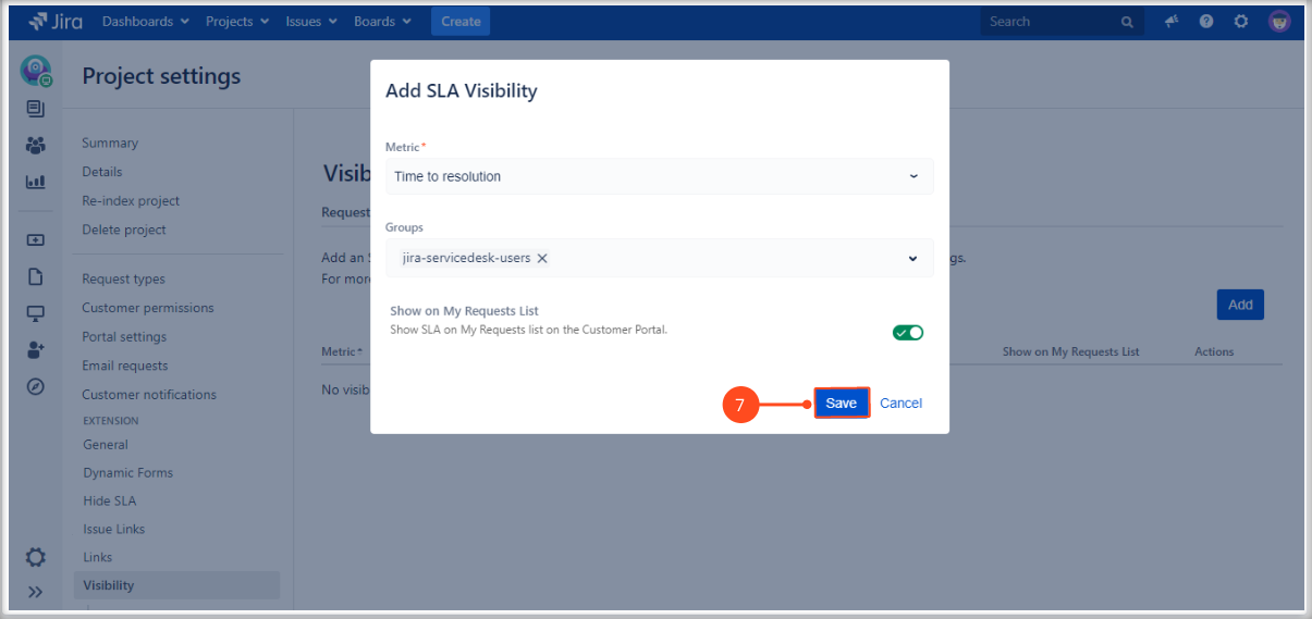 Setting SLAs visibility with Extension for Jira Service Management on My Requests List on the Customer Portal by adding the SLA metric and groups