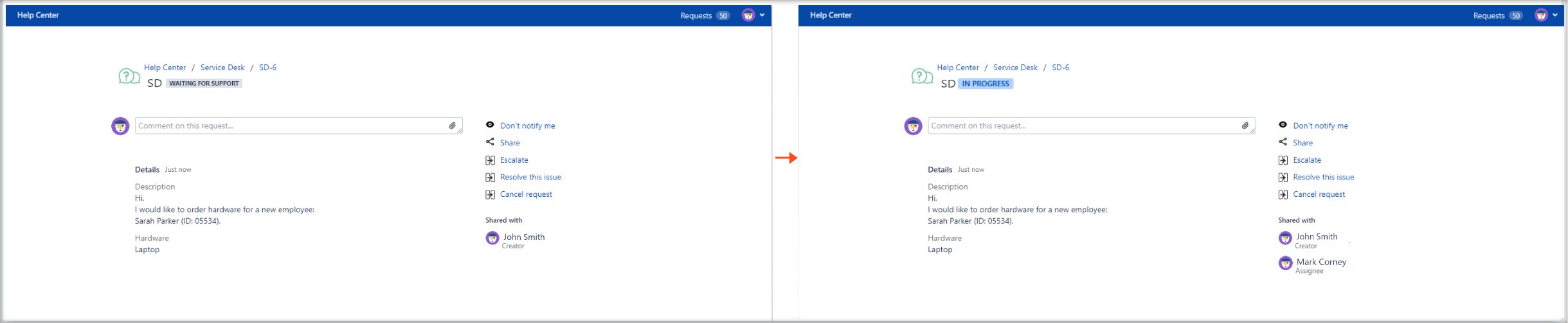 Now you can create Jira Service Management requests with Show Assignee configuration