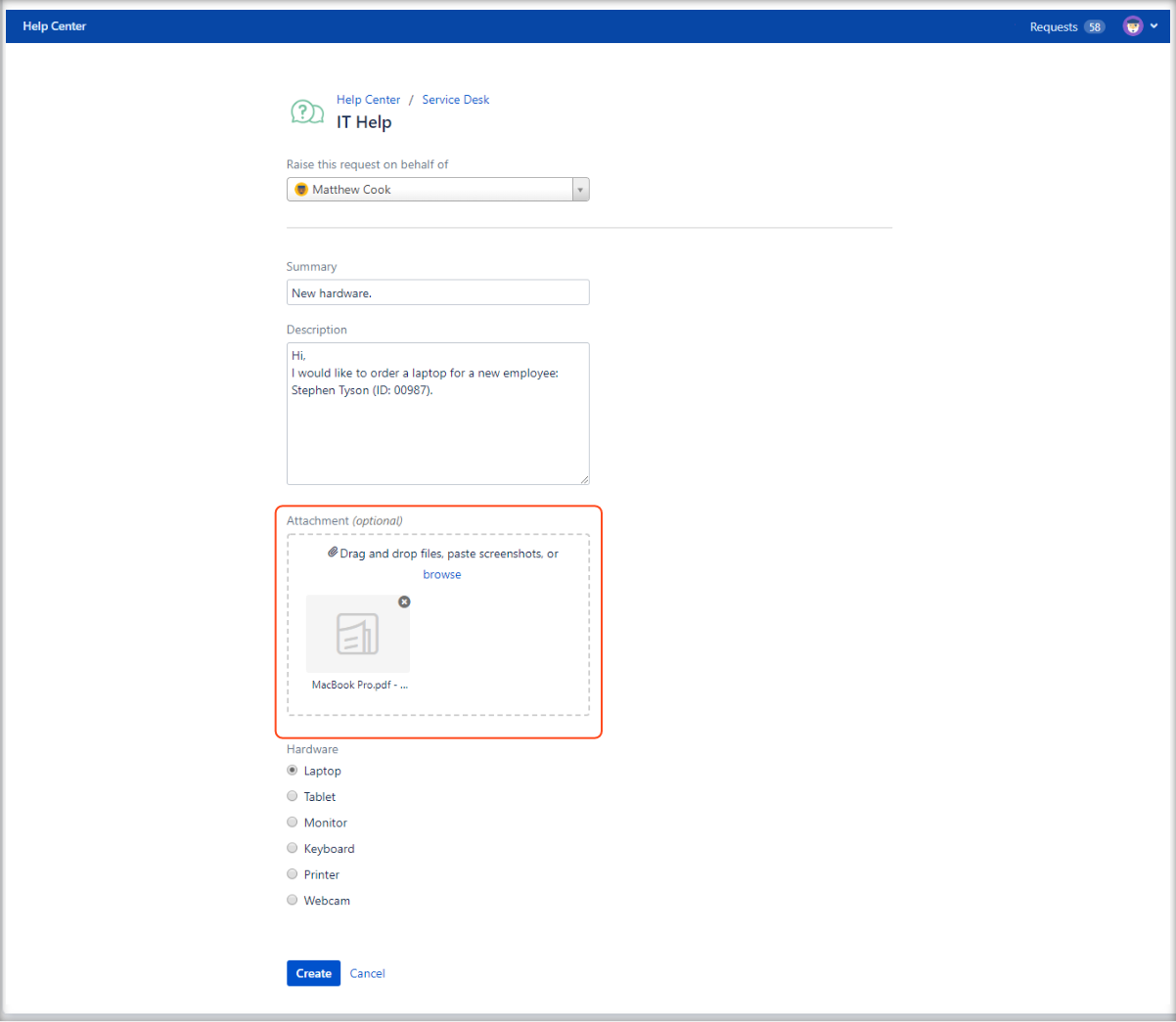 Adding the attachment to the request form on the Customer Portal with Extension for Jira Service Management