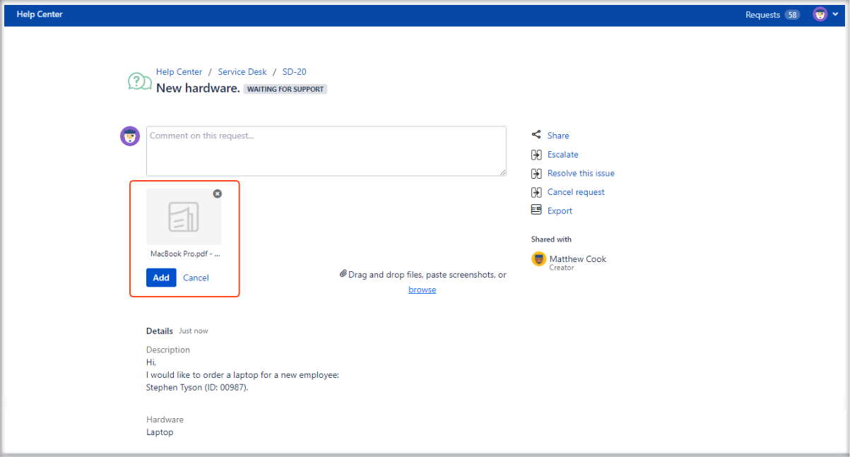 Adding the attachment to the request details view on the Customer Portal with Extension for Jira Service Management
