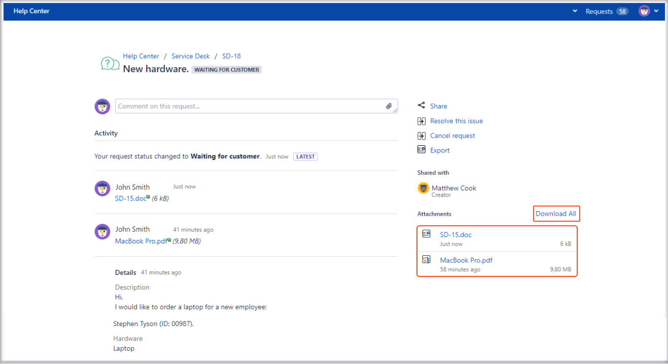 Now you can create Jira Service Management requests with Show Attachments configuration in the request details view on the Customer Portal