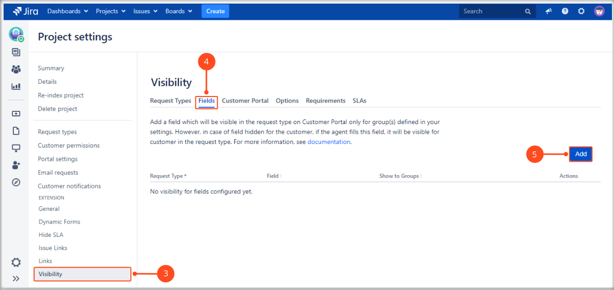 Setting Fields visibility with Extension for Jira Service Management on the Customer Portal