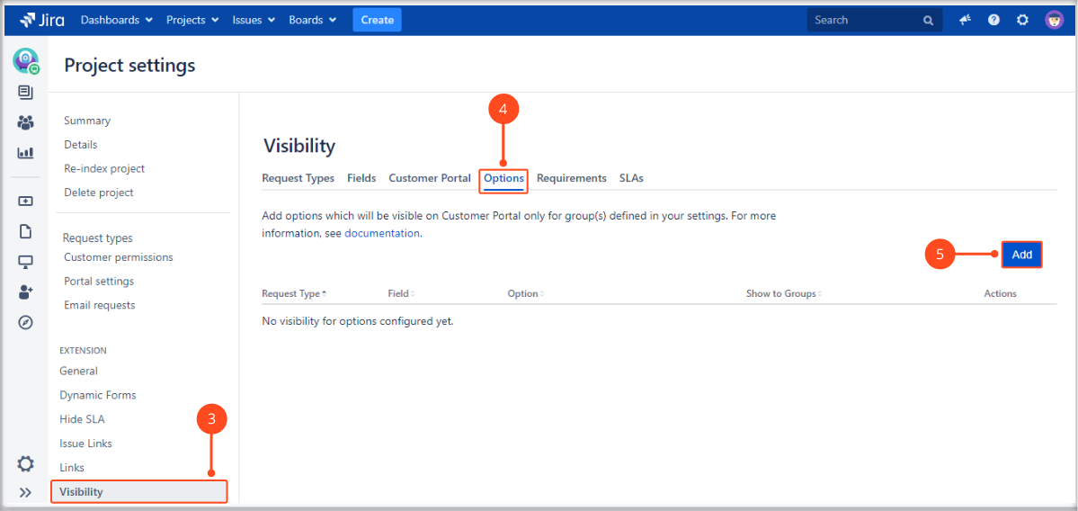 Setting options visibility with Extension for Jira Service Management on the request form on the Customer Portal