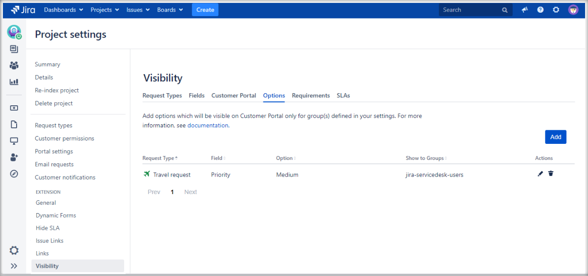 Setting options visibility with Extension for Jira Service Management on the request form on the Customer Portal by adding a configuration to the list