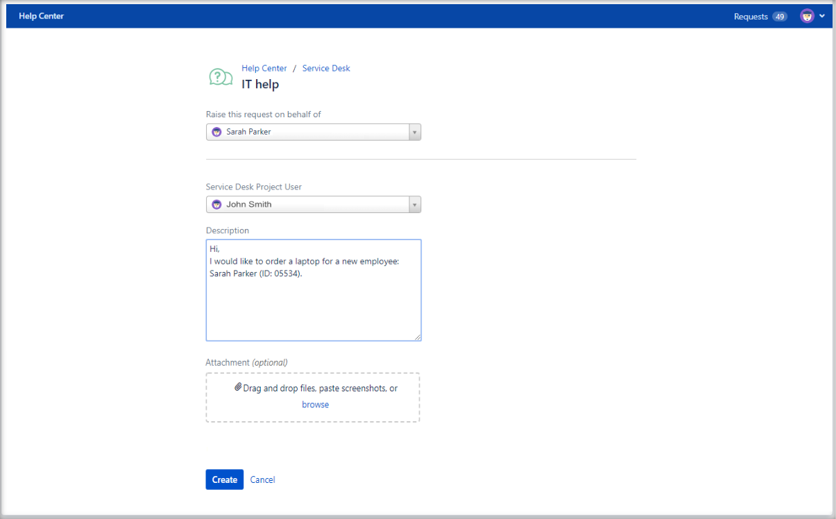 Now you can create Jira Service Management requests with Fill User Picker configuration