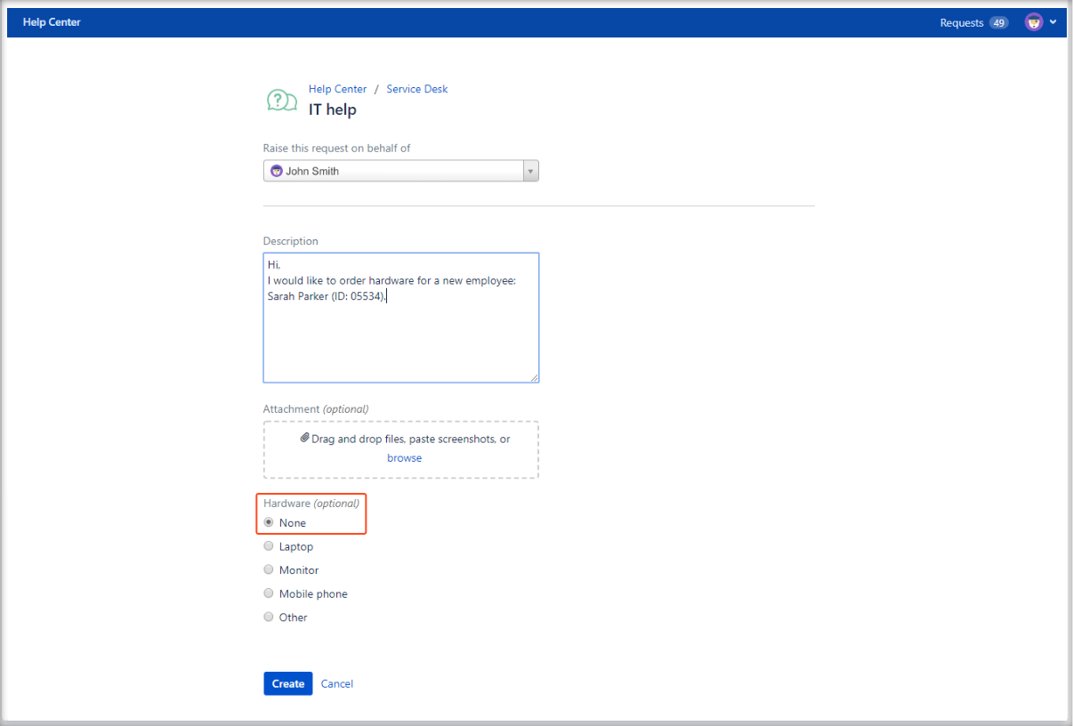 Now you can create Jira Service Management requests