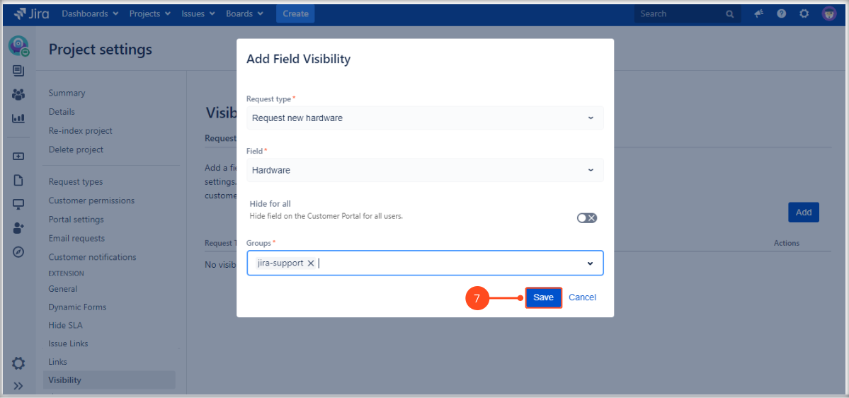 Setting Fields visibility with Extension for Jira Service Management on the request form on the Customer Portal by adding a request type, field and groups