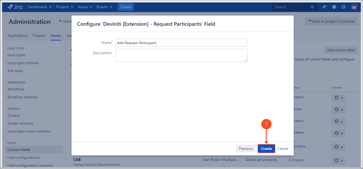 Creating Request Participants field on the Customer Portal with Extension for Jira Service Management by adding a name and description