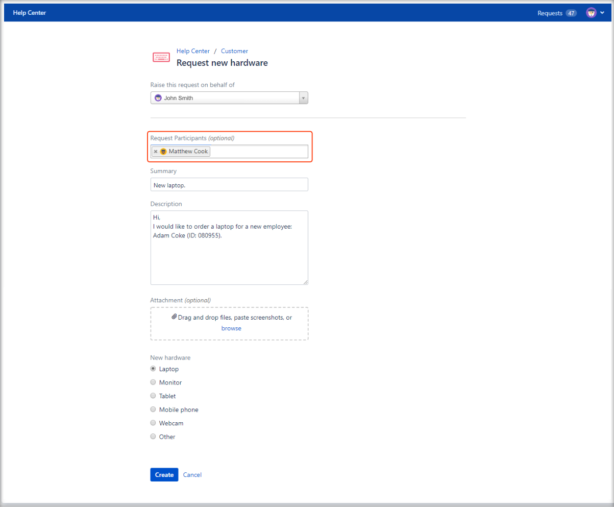 Now you can see added Request Participants field on the Customer Portal with Extension for Jira Service Management on the request form