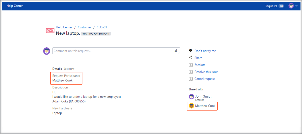 Now you can see added Request Participants field on the Customer Portal with Extension for Jira Service Management in the request details view