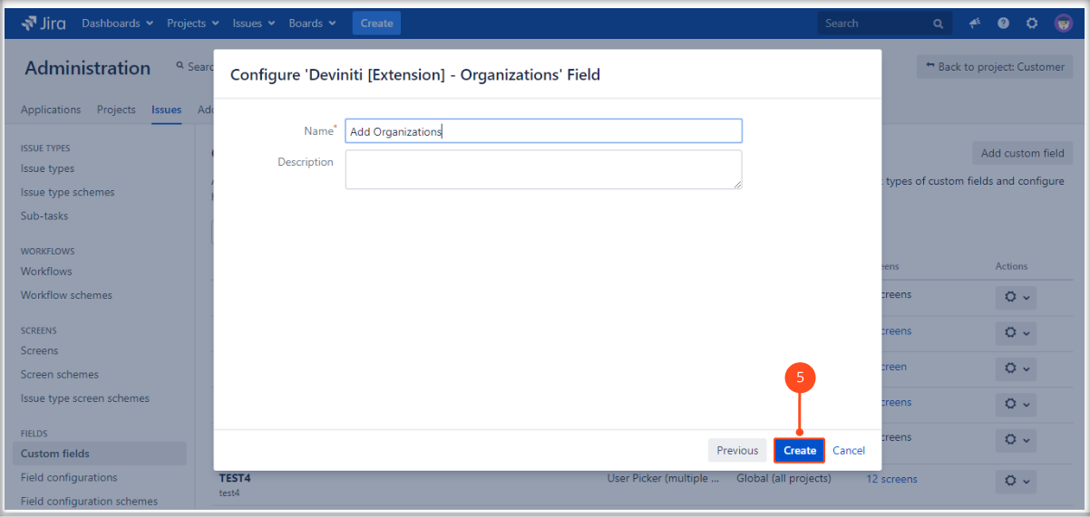 Creating Organizations field on the Customer Portal with Extension for Jira Service Management by adding a name and description