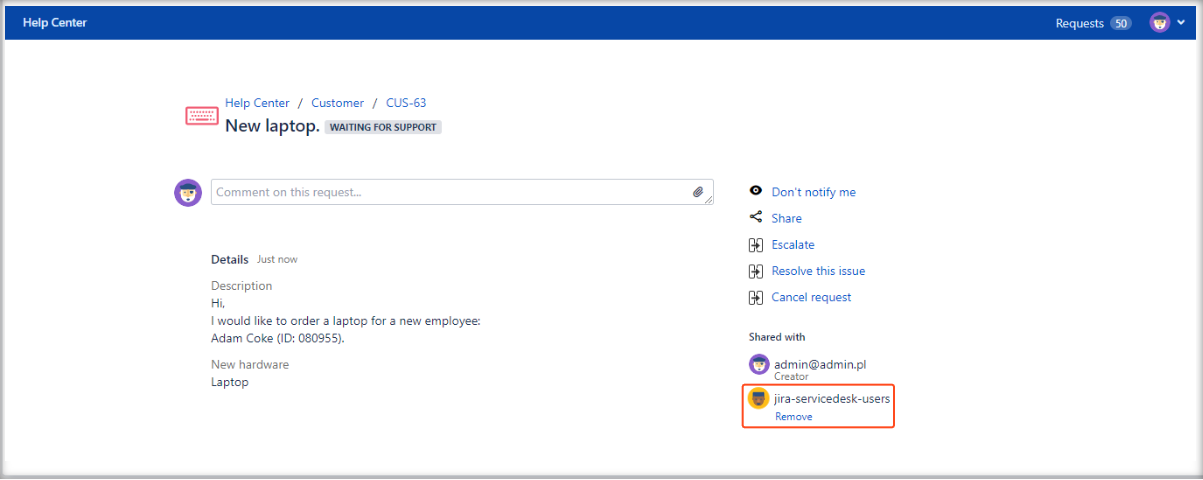 Now you can see added Organizations field on the Customer Portal with Extension for Jira Service Management in the request details view