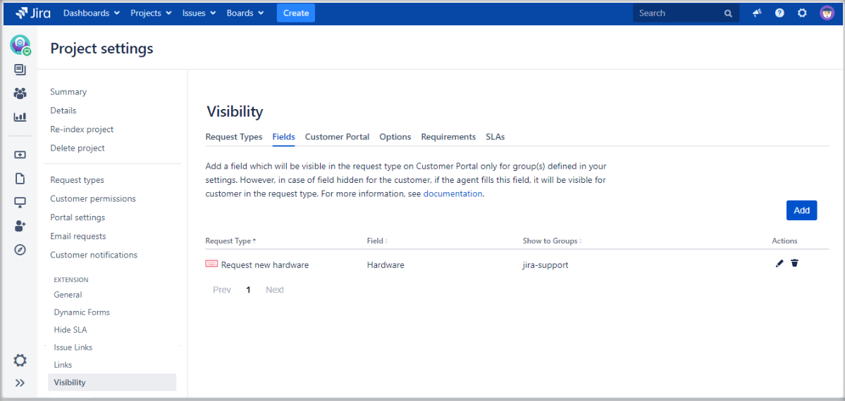 Setting Fields visibility with Extension for Jira Service Management on the request form on the Customer Portal by adding it to the list