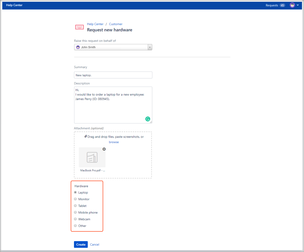 Now you can create Jira Service Management requests with fields visibility configuration
