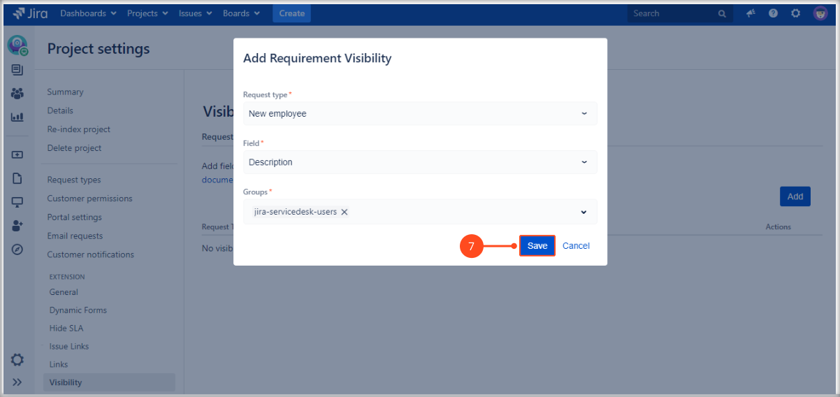 Setting required fields with Extension for Jira Service Management on the request form on the Customer Portal by adding a request type, fields and groups