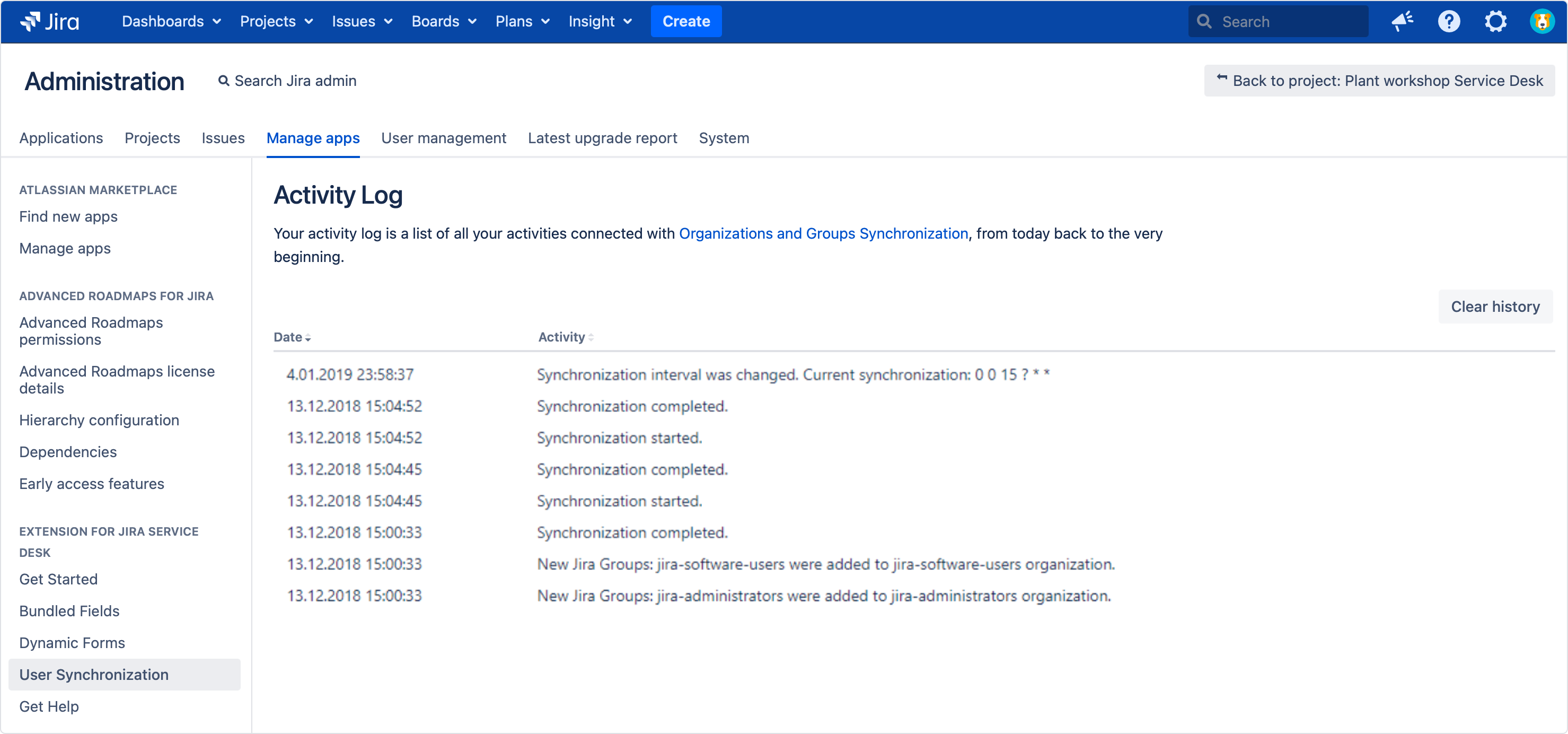 Configuring organizations and Jira groups synchronization with Extension for Jira Service Management - checking all synchronization in Activity Log