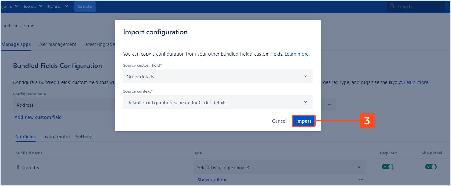 Bundled Fields - Import Configuration
