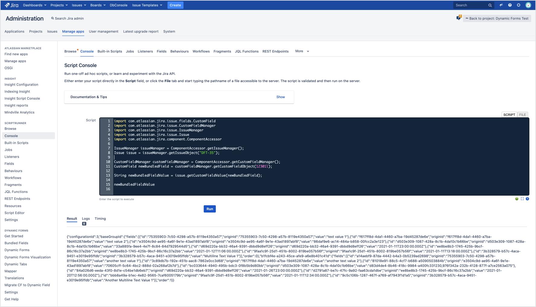 Bundled Field Structure - Java API (ScriptRunner)