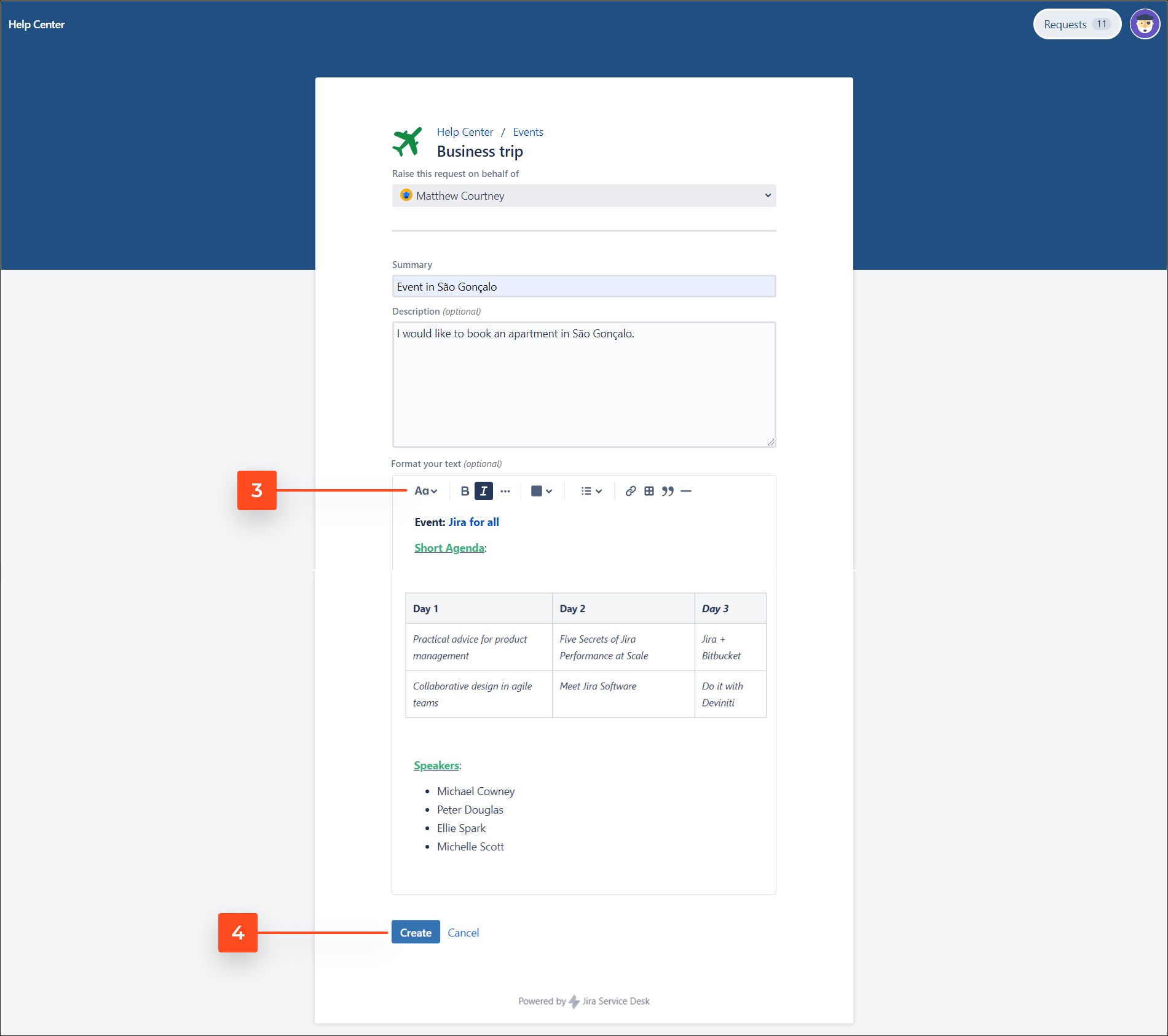 See added Rich Text custom field on the Customer Portal with Extension for Jira Service Management app on the request form