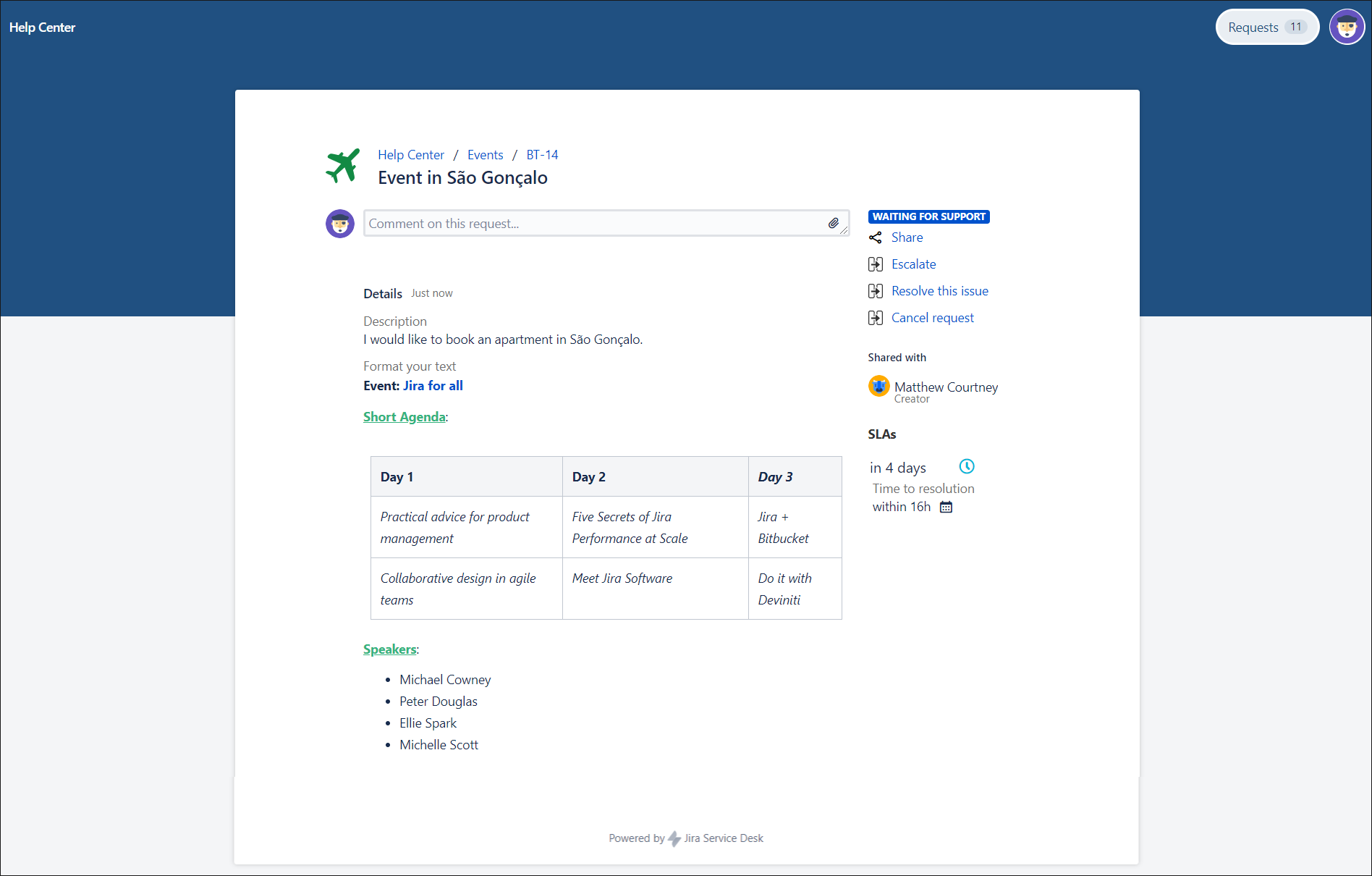 See added Rich Text custom field on the Customer Portal with Extension for Jira Service Management app on the request detail view