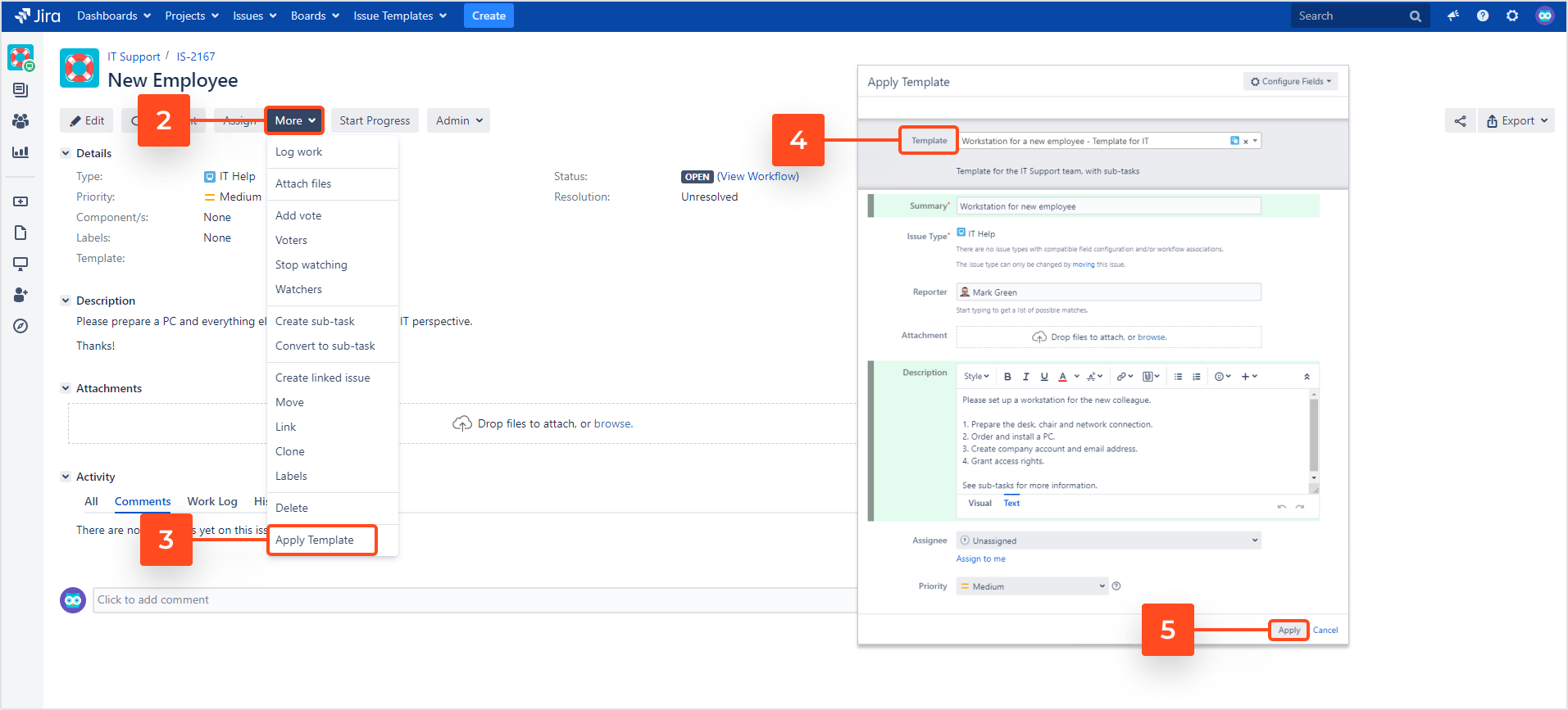 Issue Templates for Jira - Apply a Template to an Existing Issue
