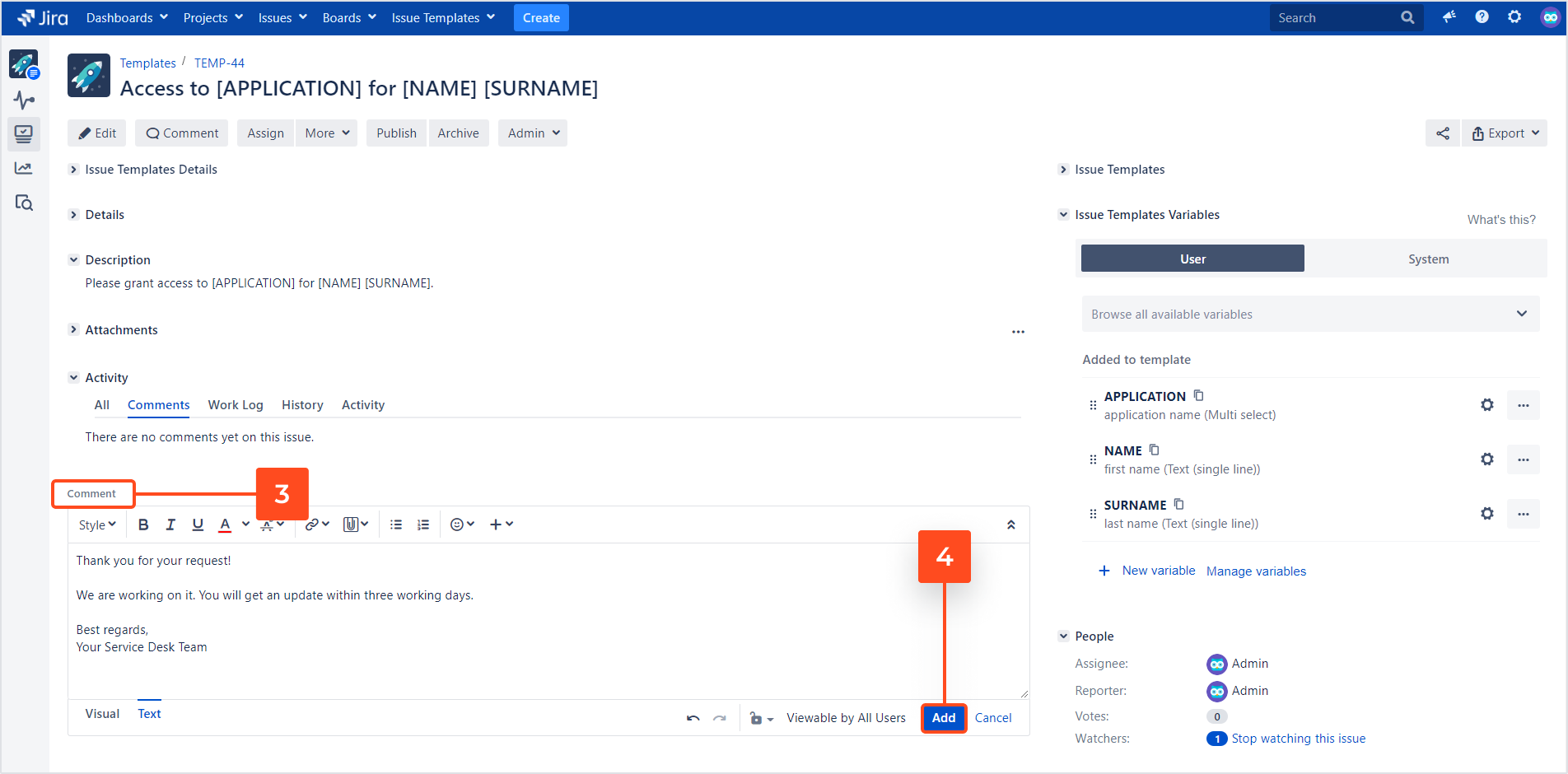 Issue Templates for Jira - Canned Responses for Service Management: Add a Comment