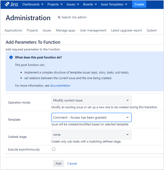 Issue Templates for Jira - Canned Responses for Service Management: Post Function Configuration