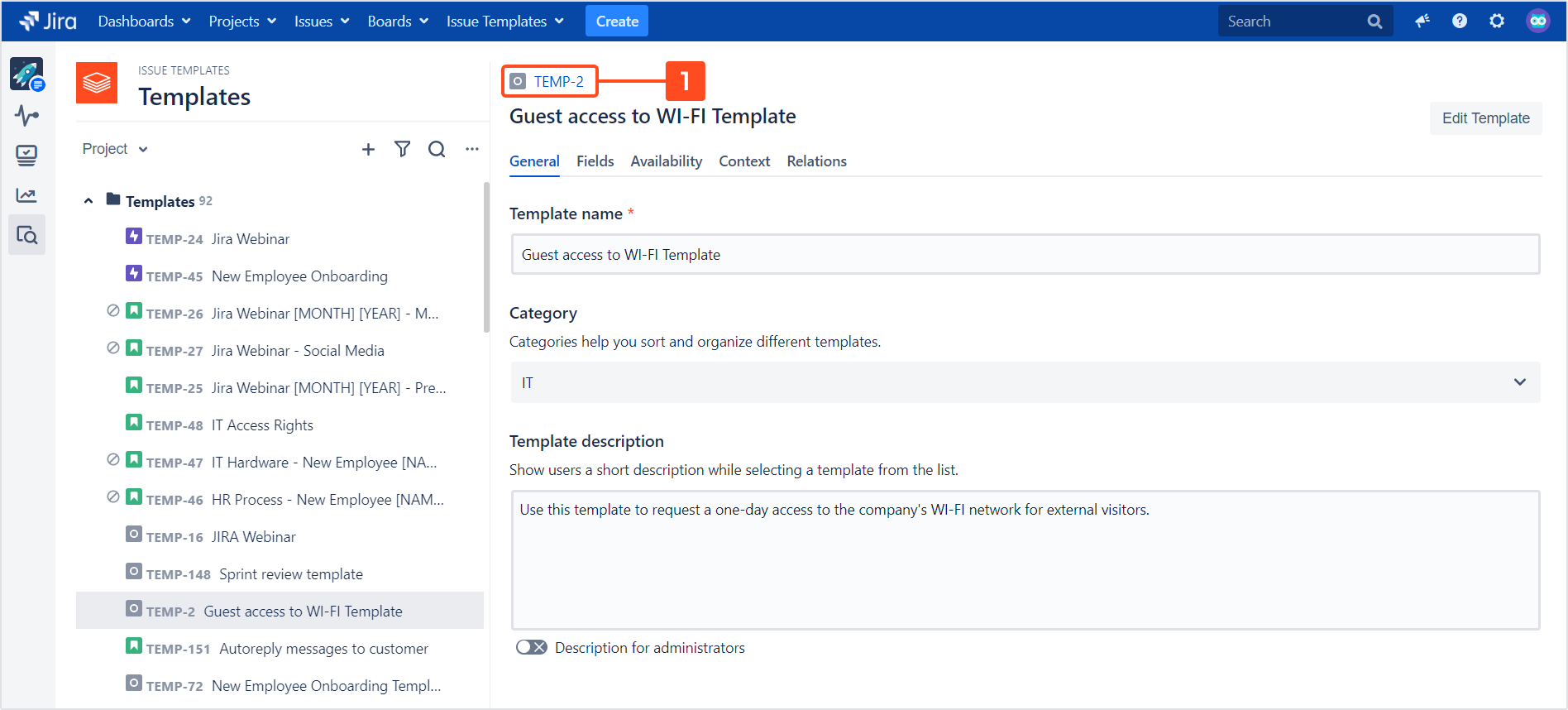 Issue Templates for Jira - Edit a template
