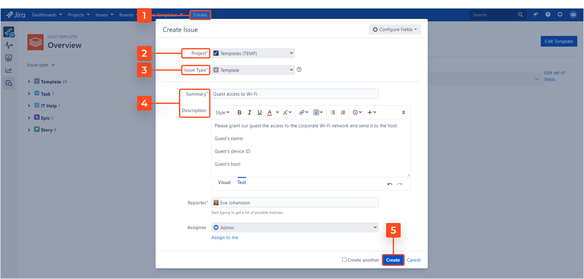 Issue Templates for Jira - Create a template