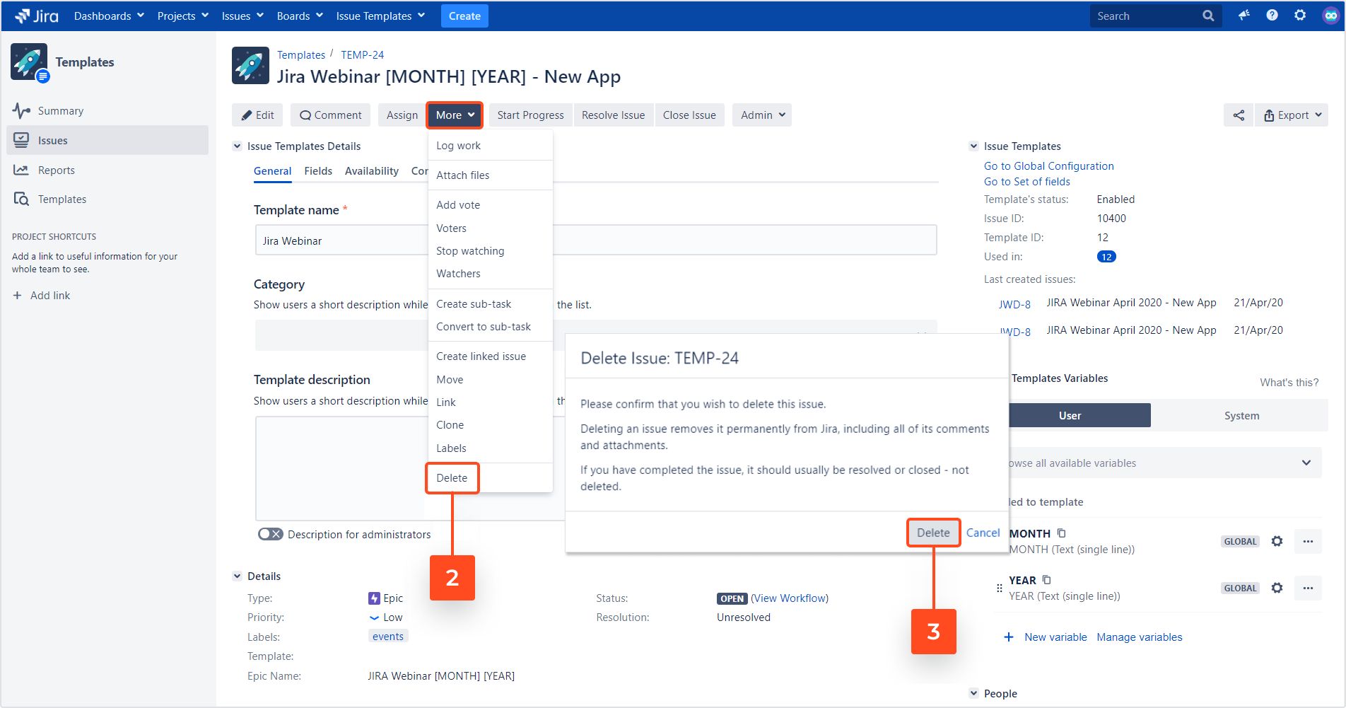 Issue Templates for Jira - Delete a template