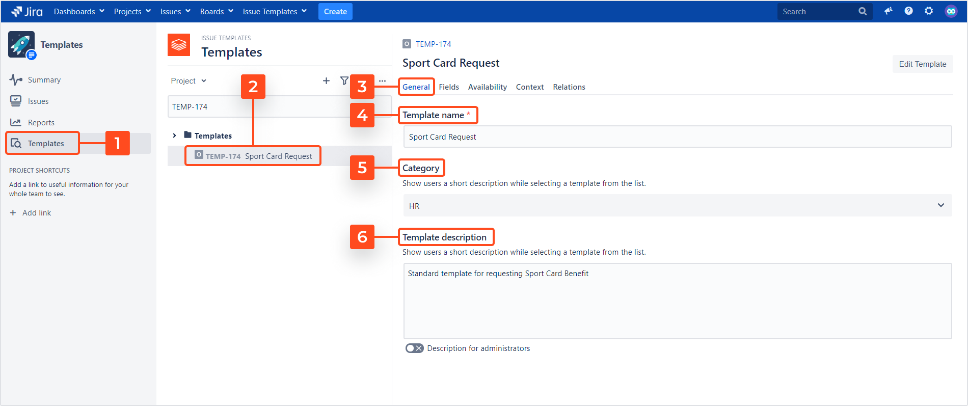 Issue Templates for Jira - Manage Template Details