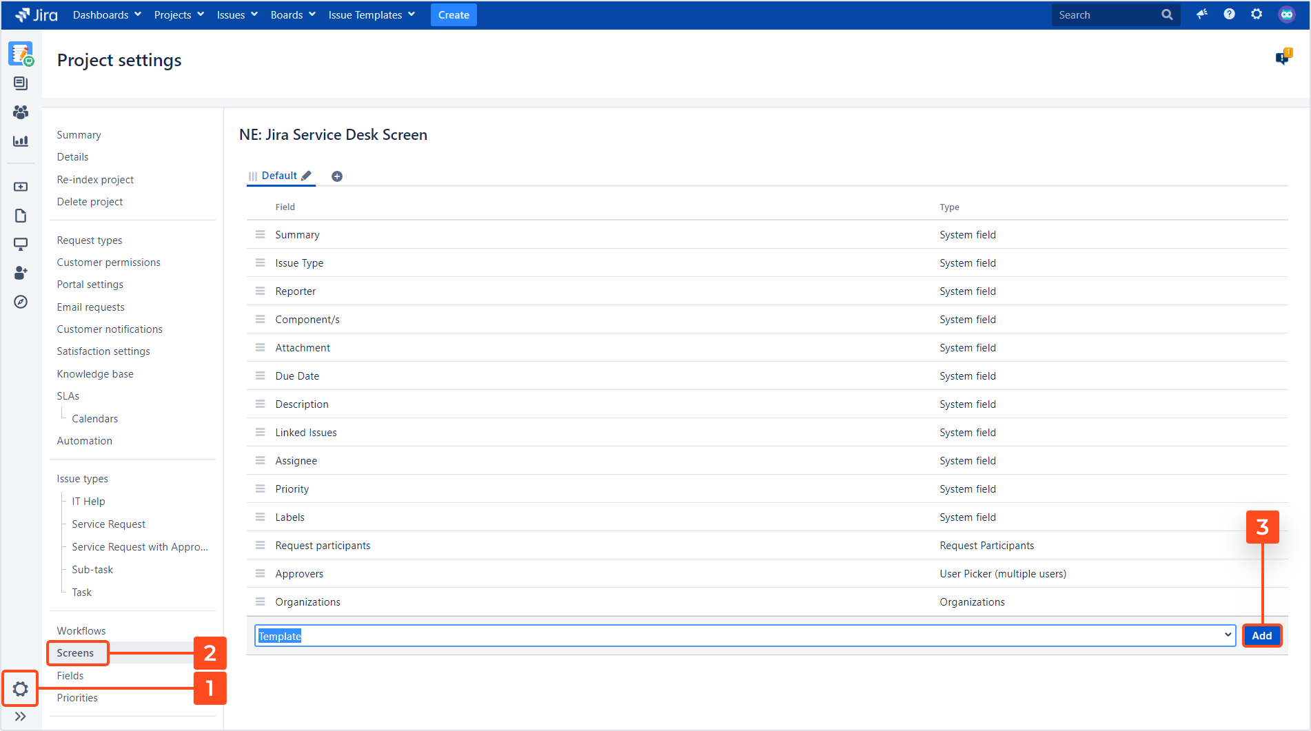 Issue Templates for Jira - Add Template Field to Screen