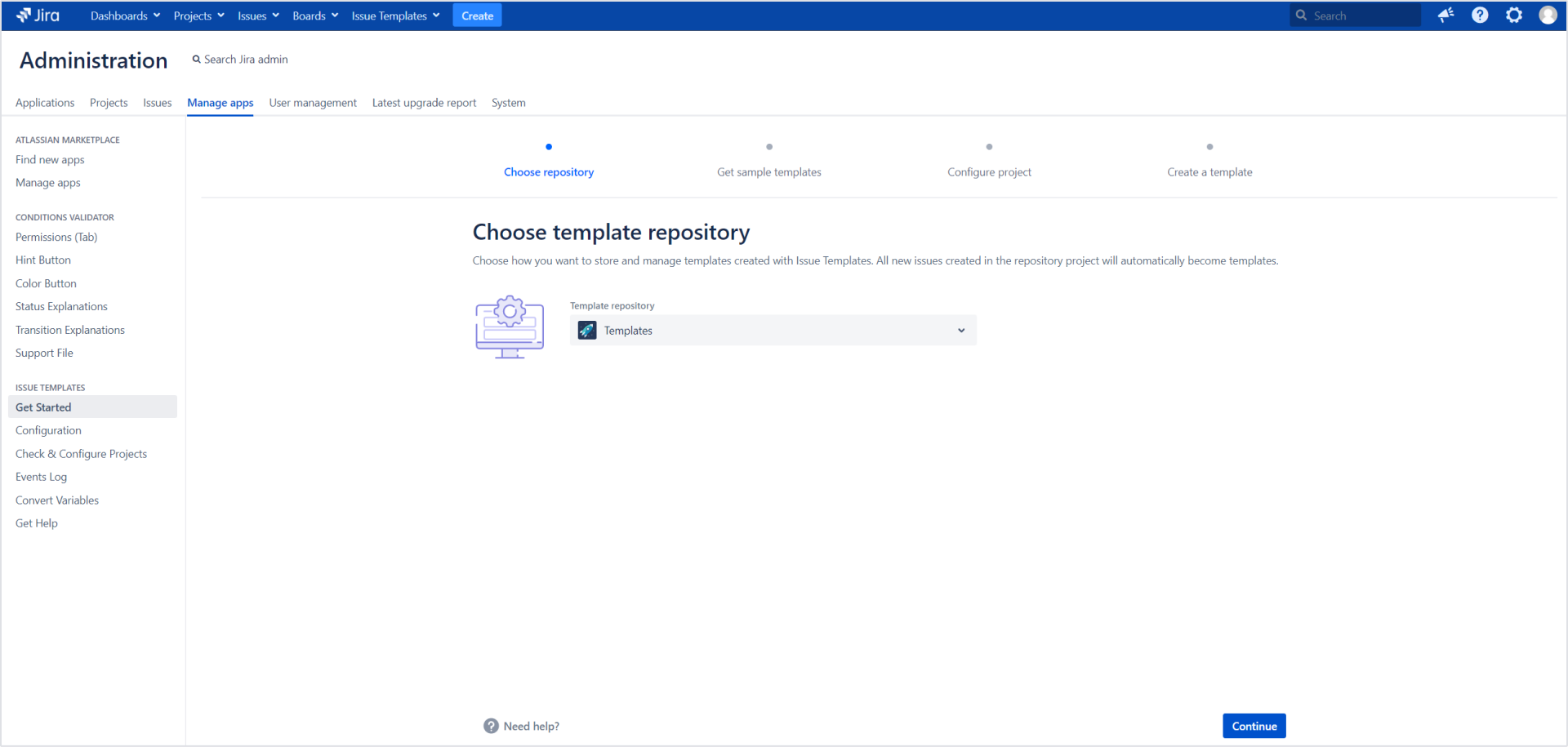 Issue Templates for Jira - Choose template repository